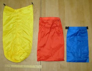 The Three Outdoor Products dry sacks. The ruler is a standard 12in school ruler