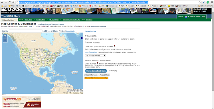 The USGS Map Locator interface page