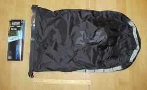 20l Outdoor Research Dry sack. The ruler is a standard 12in school ruler.